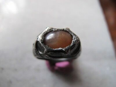 Antique  Medieval Ancient Silver ring with yellow agate stone