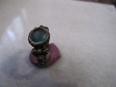 Antique  Medieval Ancient Bronze ring with  green glass