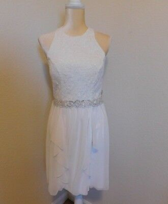 ef19aea59 New Junior Jodi Kristopher Size 9 White lace sparkly ruffle formal/ party  dress