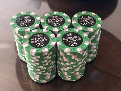 Aurora Star $25 Casino / Poker Chips - 20 Quantity