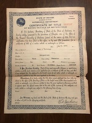 1919 FORD MODEL T Roadster CERTIFICATE OF TITLE INDIANA  REG. 1919 HISTORIC ONLY