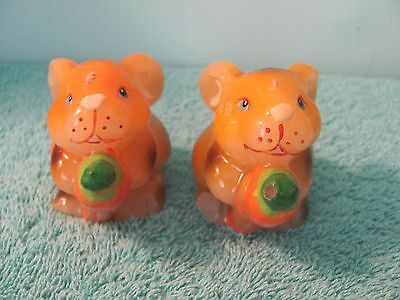 VTG Wax Bunny Rabbit Candle, Set of 2, Holding Carrot