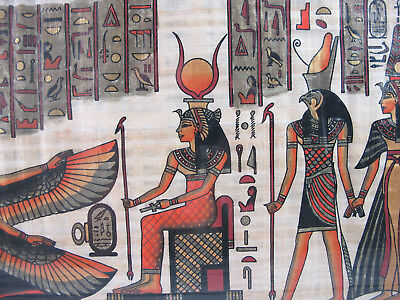 Framed/Matted Egyptian Egypt Art on Papyrus Paper Parchment artwork 14 x 11
