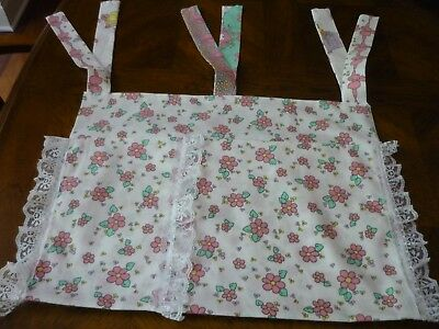 New Handmade Women's Walker Bag Pink Flowers on White CottonPrint with Lace Trim