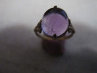 Antique  Medieval Ancient Bronze ring with   Amethyst stone