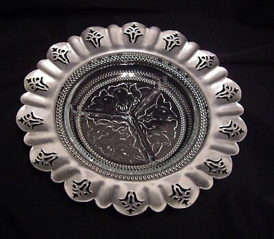 Vintage Clear Glass Divided Dish W Pierced Scalloped Aluminum Edge Fruit Design