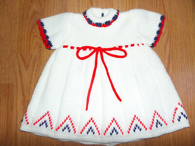 Vintage Baby Marshall Field & Company Red White Blue Sweater Dress 0-3 Months