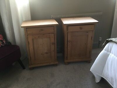 Original Pair Of Old Antique Pine Bedside Cabinets/tables/cupboards.