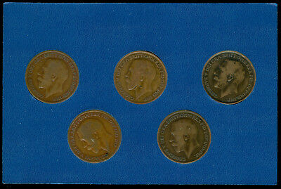 All Five Great Britain Mint Marked Penny Set