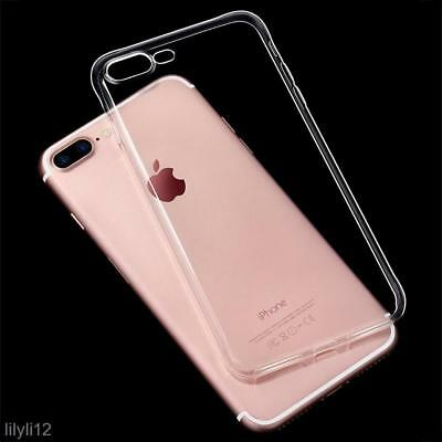 For Apple iPhone 7 Clear Gel Back Case With Free Glass Screen Protector Cover