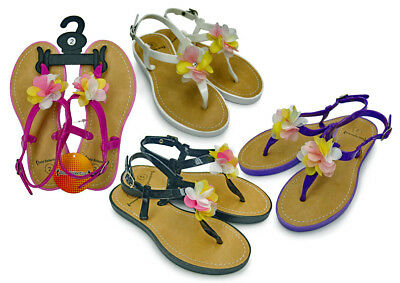 GIRL'S SANDALS WITH STRAP & FLOWER ADORNMENT > (Lot of 48 Pairs)