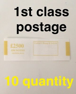 10 x £50 UK Currency Bank Note Money Bands - £2500 In £50 Sterling