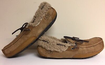 ae7a4779a80 Men s UGG FLEMING Slipper Moccasin Suede Sheep Wool Chesnut Brown Size  8 US