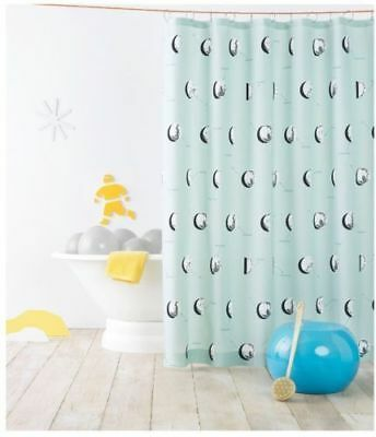 PILLOWFORT Moon Phase FABRIC Shower Curtain Blue Lake -  SPACE ASTRONAUNT NEW