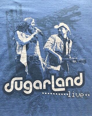 SUGARLAND Live Concert T Shirt Size Large Blue  Short Sleeve Tee