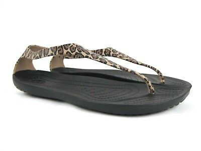 21402f13640b CROCS Sexi Women s Animal Print Thong Flip Flop Sandals Size 6