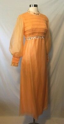 Size M 6 8 New Old Stock 60s 70s Orange Prom Party Maxi Dress Cocktail Deadstock
