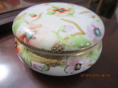 Antique Hand Painted Nippon? China Powder Box Gold Trimmed