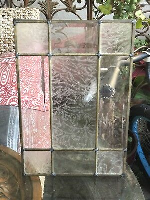 "Vintage Stained Glass Window Panel Clear/White 16.5"" X 11"""