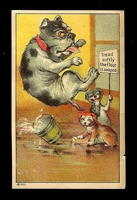 Papa Dogs Slips On Soapy Floor-Humorous Victorian Trade Card