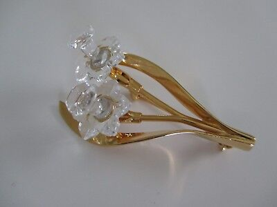 12334dd2e2a72 SWAROVSKI SWAN SIGNED Goldtone Clear Crystals gold rope design Cuff ...