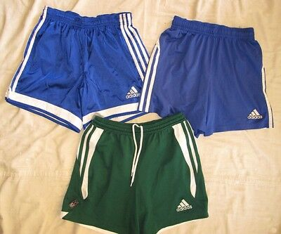 (3) Pairs of Adidas Soccer Shorts Youth Large & XL Blue Green