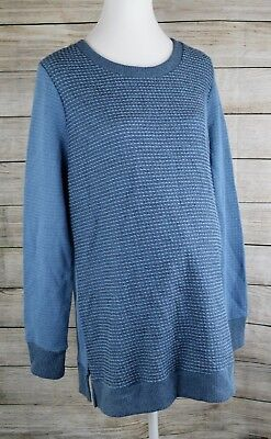 Liz Lange Maternity Sweater Long Sleeve Textured Top Tunic Pullover Blue Small