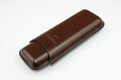 Top Quality  COHIBA Brown Leather Holder 2 Tube Travel Cigar Case Humidor