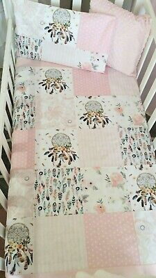 New Baby Girl Patchwork Cot quilt + toddler pillowcase - Floral + Dreamcatcher
