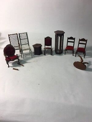 9 Pieces of Miniature  Doll House  Furniture chairs table metal outdoor rocker