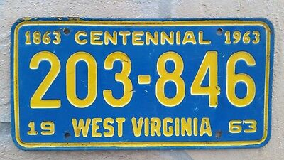 1963 West Virginia ~ CENTENNIAL ~ Mountain State ~License Plate #203-846 WV 1863