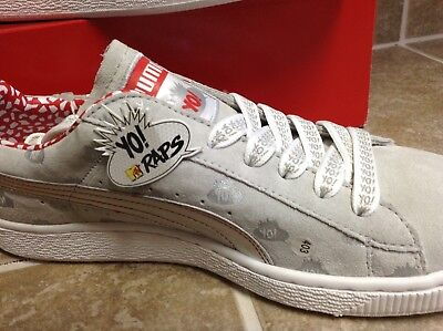 3fcf60c6c27a Rare Yo Mtv Raps Puma Suede Silver-High Risk Red Sneakers New With Box Men s