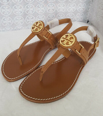 fb68fb0d982 Nib Tory Burch Cassia Flat Thong Sandal Shoes Royal Tan Gold Logo Leather  7.5 M