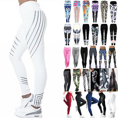Womens High Waist Yoga Fitness Leggings Running Gym Sports Pants Trousers Skinny