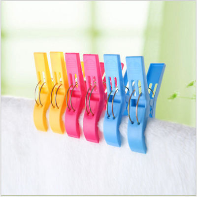 4Pcs Large Bright Colour Plastic Beach Towel Pegs Clips to Sunbed Tools Home NEW