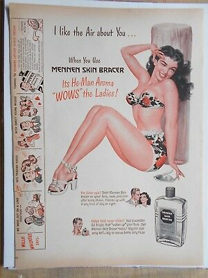 "1947 Vintage Ad Page "" Mennen Skin Bracer After Shave AD (Pin-Up Girl)"