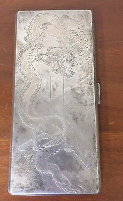 Antique Chinese Sterling Silver Cigarette Case Fine Dragon Etched Large 200g