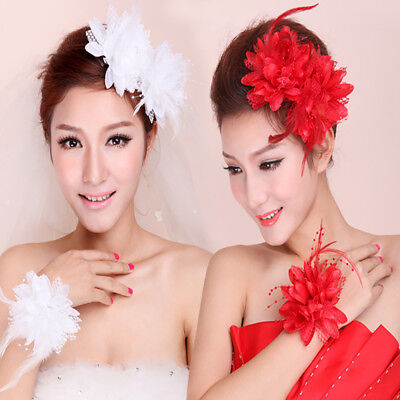 1Pcs Corsage Flower Handmade Hair Clips Feather Women Hairband For Wedding Party