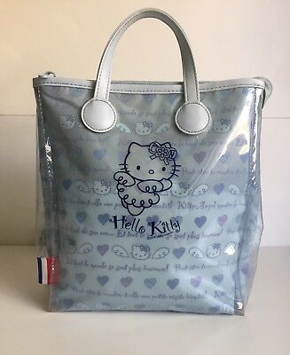 6096fba5b2 RARE Vintage 2002 Sanrio HELLO KITTY BLUE ANGEL FRENCH KITTY BACKPACK PURSE  USED