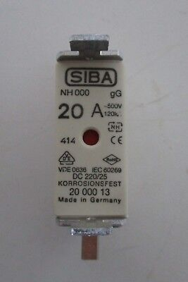 Siba Blade Fuses 20A NH000 gL/gG Combination Indicator