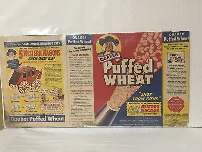 Vintage 1953 Quaker Puffed Wheat Cereal Box Shot From Guns, Western Wagons