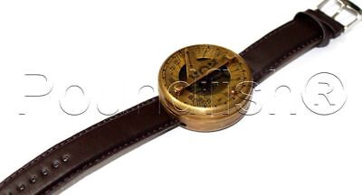 Steampunk Navitron Wrist Brass Compass and Sundial- Genuine Leather Wrist watch