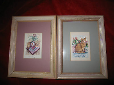 Two Small Framed Cat Prints Signed by DJM
