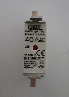 Siba Blade Fuses 40A NH000 gL/gG Combination Indicator