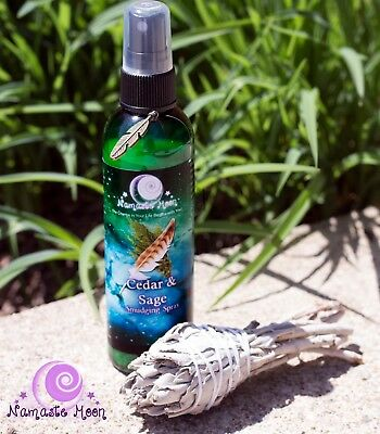 4 OZ CEDAR and White Sage Smudge Spray from Namaste Moon