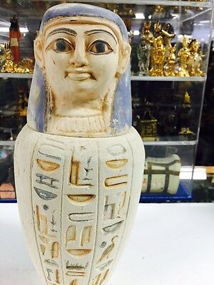 Vintage Heavy Large Egyptian Hand Carved Canopic Jar Made in Egypt