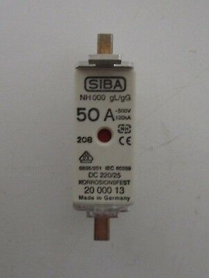 Siba Blade Fuses 50A NH000 gL/gG Combination Indicator