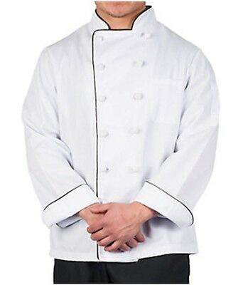 NEW Chef/Cook Coat /Jacket~10 knotted buttons sz LG Unisex White w/ Black Piping