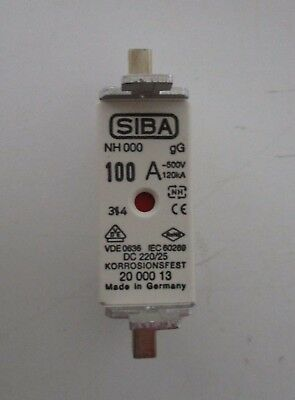 Siba Blade Fuses 100A NH000 gL/gG Combination Indicator