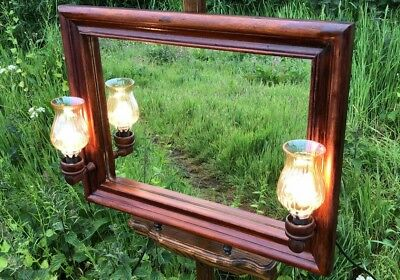Beautiful Antique Vintage Wooden Wall Mirror With Lights *